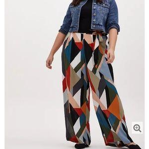 Torrid wide leg crinkle geometric gauzy pants